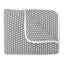 OLLI+LIME - Cross Crib Quilt - Gray - Soft cotton crib quilt in Nordic-inspired gray and white cross design. Contrasting piping and logo detail. Polyfill insert.