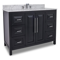 Hardware Resources - VAN101-48-T Jeffrey Alexander Vanity with Preassembled Top and Bowl in Black - Jeffrey Alexander Vanity with Preassembled Top and Bowl by Hardware Resources