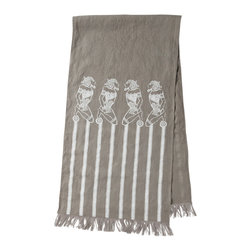Cricket Radio - Alexandria Runner, Stone/White - Hopelessly devoted to entertaining in style? Add this handmade runner to your table for a touch of ancient Egypt and casual elegance. It features ecofriendly inks on Italian linen, fringed edges, a choice of colors and at 15 by 60 inches, is the perfect size to drape across or down the center of the table.