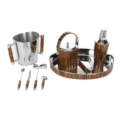 Safavieh - Bamboo Bartender Set ACS8500A - Improve your status as a mixologist and host with cocktails prepared and served using this exquisitely detailed Bartender Set. Crafted of genuine horn, natural bark or bamboo with stainless steel and brass, the set includes nine pieces: tray, beverage and ice buckets, a cocktail shaker with strainer, tongs, garnish knife, double jigger, stirrer and bottle opener. Cheers!