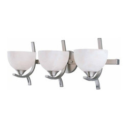 """Triarch International - Triarch International 25763 3 Light 24"""" Wide Bath Fixture from the Luxor Collect - 3 Light bath fixture featuring White Alabaster ShadesRequires 3-60w Medium Base Bulbs (Not Included)"""