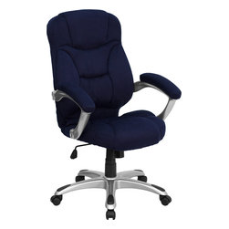 Flash Furniture - Flash Furniture High Back Microfiber Upholstered Contemporary Office Chair - This is a very attractive high back office chair that displays contemporary flair. Plush microfiber upholstery provides comfort with the extra Thick padded seat and back. Built-in lumbar support will provide comfort when working for long hours. Thickly padded armrests will provide extra comfort. chair features a titanium nylon base with back caps that prevent feet from slipping. For your next office chair, look no further than this extremely comfortable and stylish microfiber office chair! [GO-725-NVY-GG]