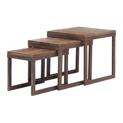 "Zuo - Zuo Civic Center Distressed Wood Nesting Tables - Set of 3 solid distressed elm wood nesting tables. Antiqued metal base. Space-saving design slides together; pull apart for extra tabletop space. Ideal for small spaces. A chic addition to your home from Zuo Modern. Large table is 15 3/4"" wide 15 3/4"" deep and 16"" high. Medium table is 10"" wide 15 3/4"" deep and 14"" high. Small table is 10 1/4"" wide 15 3/4"" deep and 12 1/4"" high. Fully assembled.  Set of 3 solid distressed elm wood nesting tables.  Antiqued metal base.  Space-saving design slides together; pull apart for extra tabletop space.  Ideal for small spaces.  A chic addition to your home from Zuo Modern.  Large table is 15 3/4"" wide 15 3/4"" deep and 16"" high.  Medium table is 10"" wide 15 3/4"" deep and 14"" high.  Small table is 10 1/4"" wide 15 3/4"" deep and 12 1/4"" high.  Fully assembled."