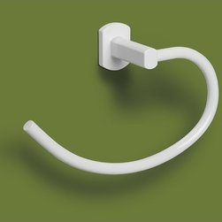 Gedy - Lacquered White Towel Ring - Contemporary towel ring made of lacquered white brass. Wall mounted towel ring made of brass with lacquered white finish. From the Gedy Edera collection.
