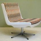 Mid Century Modern Chairs (Germany) - Mid Century Modern Chairs. From East Germany 1960's. White fiberglass shell and chrome base with new retro upholstery. Futuristic. Atomic Ranch