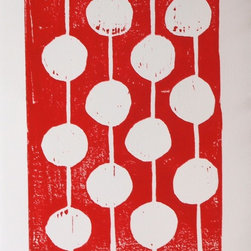 Red and White Bulbs Artwork - Handmade carved and hand pulled  red and white linocut art print of round bulbs using red printing ink. A single modern design of hanging light bulbs. Simple art is the best!  This print is in the series of in.party bulbs. in.  Each linocut print is printed to order. I have carved into the linoblock by hand. Then I carefully ink the block and print the print. Each one comes out a little different due to the variation that occurs with truly handmade.   *** Medium: Hand carved, hand-pulled linocut print.  *** Size: 8x10 inches signed on the back. *** Ink: Printers Ink mixed color by hand. *** Paper: 100% cotton rag paper 140 lb (treeless) with hand-torn edges. *** Uniqueness: Each print is pulled by hand one at a time. Variation is part of the beauty.  *** Frame: Not included. *** Shipped: Via USPS Mail within three days of payment wrapped up pretty as a present.