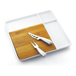 None - Porcelain Serving Tray with Bamboo Cutting Board and Steel Cutlery - This handy wooden cutting board is a part of a cutlery collection that includes a square white porcelain,a knife with forked tips and large cut-outs,and a cheese fork. Together,this set will make an elegant presentation at any buffet or table.