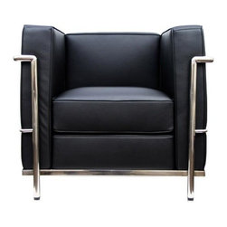 "IFN Modern - Le Corbusier LC2 Style ArmChair - Italian Leather, Black - Our LC2 line reproduction was inspired by Le Corbusier's original design back in the 1920s. Charles-Edouard Jeanneret-Gris better known as Le Corbusier, introduced the LC2 line for two of his project The Maison la Roche in Paris and pavilion for Barbara and Henry Church. Our LC2 furniture line is true to the original design; we offer superiors quality leathers and craftsmanship. A lot of reproduction companies out there use fake leather or vinyl on their products and lower grade steel which will bend and chip over time. We offer multiple colors on all of our products, and our stainless steel is hand polished to a mirror finish.                                                                                                                                                                                                                      Overall Dimensions: 26.4"" H x 29.9""L x 27.5"" D"