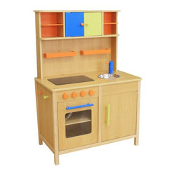 Berry Toys - Berry Toys Lots of Fun Wooden Play Kitchen - W10C038 - Shop for Cooking and Housekeeping from Hayneedle.com! If you're looking for a beautiful play kitchen for your child here it is: the Berry Toys Lots of Fun Wooden Play Kitchen. This sturdy wooden play kitchen has a classic design in a neutral color with bright accents. The counter has a modern flat-top range and a sink that pops out for easy clean-ups. The dual-rack oven opens and closes and has a window like a real oven door. And there are tons of hooks shelves and cabinets for storing all the pots pans and accessories your child will start to collect. (So spacious you could even use it to store other toys!) Try the Berry Toys Lots of Fun Wooden Play Kitchen for your budding chef. It will stand the test of time.About Berry ToysBased in Chino Hills California Berry Toys is a leading manufacturer of children's toys. Berry Toys aims to educate children through play and their toy selection includes play kitchens play foods musical instruments play tools and more. If you want affordable pricing quality customer service and educational toys that are manufactured according to the highest standards Berry Toys can deliver.