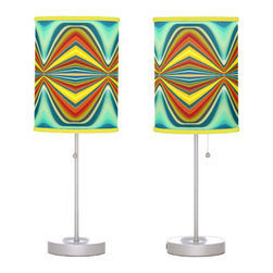 Fury Pattern 8 Blue Table Lamps - Create a statement piece that will add instant style to your home décor with Abstract Art Lamps created form original artwork by Amy Vangsgard. Choose your trim and base for a special, one-of-a kind home accent. Choose from film polyester, rice paper, or linen lamp shades that are printed in vibrant color with fade resistant ink.