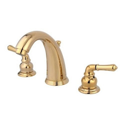"""Kingston Brass - Two Handle 8"""" to 16"""" Widespread Lavatory Faucet with Retail Pop-up KB982 - Two Handle Deck Mount, 3 Hole Sink Application, 8"""" to 16"""" Widespread, 3 hole 8"""" to 16"""" center spread installation, Fabricated from solid brass material for durability and reliability, Premium color finish resists tarnishing and corrosion, 1/4 turn On/Off water control mechanism, 1/2"""" IPS male threaded inlets with rigid copper piping, Duraseal washerless cartridge, 2.2 GPM (8.3 LPM) Max at 60 PSI, Integrated removable aerator, 5-1/4"""" spout reach from faucet body, 6"""" overall height.. Manufacturer: Kingston Brass. Model: KB982. UPC: 663370054921. Product Name: Two Handle 8"""" to 16"""" Widespread Lavatory Faucet with Retail Pop-up. Collection / Series: Magellan. Finish: Polished Brass. Theme: Classic. Material: Brass. Type: Faucet. Features: Drip-free washerless cartridge system"""