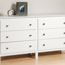 Prepac - 62 in. Dresser with 6 Drawers - Includes a tipping restraint. Contemporary style. Tapered legs and brushed nickel knobs. Metal glides with built-in safety stops. Clear lacquered real wood drawer sides. Sturdy MDF backer. Warranty: Five years. Made from CARB-compliant, laminated composite woods. White finish. Made in North America. Drawer: 24.75 in. W x 12.5 in. D x 5 in. H. Overall: 62 in. W x 15.75 in. D x 32.25 in. HAchieve style and storage harmony with the Berkshire 6-Drawer Dresser. Providing the generous storage capacity youd expect from a dresser, this piece also brings an upscale highlight to your bedroom with its tapered legs. Keep a mirror, jewelry and decorative accessories on top and benefit from a dresser that lets you enjoy your storage.