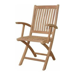 Anderson Teak - Unfinished Tropico Folding Armchair - Set of 2 - Set of 2. Teak wood construction. 22.5 in. W x 21.5 in. D x 38 in. H (16 lbs.)This Tropico chair is design for restaurant or cafe purposes. It is economical but yet, strong and comfortable enough for sitting gathering with your family or friends for hours. It is generously sized for added comfort and handsomely crafted in solid construction of Grade A plantation kiln dried teak, which makes this chair a wise choice for your dining needs. The chairs also fold for moving and storing so you can accommodate guests when you need to and hide the set away when you don't need it. Add any table of your choice for a complete set. All tables are mix and match with Tropico folding chair.