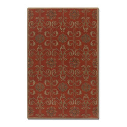 Uttermost - Uttermost Favara Red Rug - Washed wool in dark red with beige details and oxford blue accents.