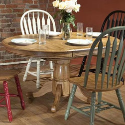 """ECI Furniture - Missouri Round Single Pedestal Table - Rustic Oak - """"This stunning rustic oak dining collection will accentuate your lifestyle dining furniture needs."""