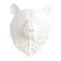 White Faux Taxidermy - White Faux Taxidermy - Large Bear Head - Fake Animal Mounts - Measurements: