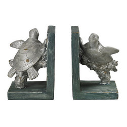 Sterling Industries - Sterling Industries 87-8015 Bookends Decor in Gannon Green / Silver - Swimming Turtle Bookends