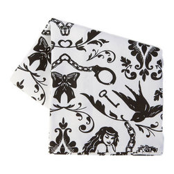 Sin in Linen - Ravens Dream Tea Towel - Pinups, chains and handcuffs on my! Add a little flirt to your kitchen with these Ravens Dream kitchen linens.