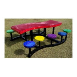 "OFab Dots Picnic Table - Create a casual, fun theme for a picnic or any outdoor event, using the OFab Dots Picnic Table. Kids, especially, would enjoy eating around this unique, colorful table. The elegantly curving tabletop is surrounded by dot-like, backless seats, each displaying an eye-catching hue. To add to the appeal, it's available in various fun colors. Made for the outdoors, it has an all-aluminum construction and a powder-coated finish, with UV inhibitor. In addition, the stainless steel hardware makes this made-in-the-USA table rust and corrosion-resistant.About Ofab Inc.Ofab's mission statement is simple: """"Continuous growth through quality and pride."""" Every product manufactured by the company is a testament to a strong commitment to creating the highest quality products available whether for mining, engine distribution, the military, agriculture, or your home. Such diverse customer bases and intense commitment has led to the company's stature as an industry leader."