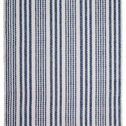 Hook & Loom Rug Company - Lenox Denim/White Rug - Very eco-friendly rug, hand-woven with yarns spun from 100% recycled fiber.  Color comes from the original textiles, so no dyes are used in the making of this rug.  Made in India.