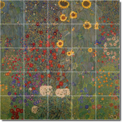 Picture-Tiles, LLC - Cottage Garden With Sunflowers Tile Mural By Gustave Klimt - * MURAL SIZE: 60x60 inch tile mural using (25) 12x12 ceramic tiles-satin finish.
