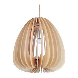 ParrotUncle - Wooden Paper Chestnut Pendant Lighting Fixtures - A warm effect created by the oak veneer of the lamp.The shapes are reminiscent of Nelson's midcentury creations.