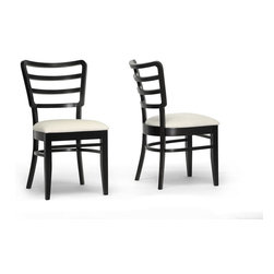"""Wholesale Interiors - Coventa Dark Brown and Cream Modern Dining Chairs, Set of 2 - Its nothing but smooth sailing during dinnertime as far as the Coventa Designer Dining Chairs are concerned. This stylish seat includes a curved slat-back contemporary design to help make mealtime an enjoyable affair. This Malaysian marvel features solid rubberwood construction with cream fabric and foam cushioning. A black/brown wenge finish completes the look. We recommend the chairs are spot cleaned as needed. Seat dimensions: 19""""H x 17"""" W x 17.75"""" D. Chair dimensions: 34.5"""" H x 18"""" W x 22"""" D."""