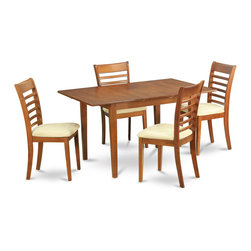 """East West Furniture - Milan 5Pc Set with Dining Table, 4 Milan Microfiber Seat Chairs - Milan 5Pc Set with Rectangular Table Featured 12 In Butterfly Leaf and 4 Microfiber Upholstered Seat Chairs; Rectangular dining table is designed in contemporary style with clean angles and sleek lines.; Table and chairs are crafted of fine Asian solid wood for quality and longevity.; Chairs are available with either wooden seats or upholstered seats to suit preference and desired motif.; Table features a standard butterfly leaf for convenient extension.; Ladder back chair style is sturdy, durable, and is ideal for classic decor in any kitchen or dining room.; Dinette sets are available in either rich Mahogany or exquisite Saddle Brown finish.; Weight: 145 lbs; Dimensions: Table: 42 - 54""""L x 36""""W x 29.5""""H; Chair: 18""""L x 17.5""""W x 38""""H""""H"""