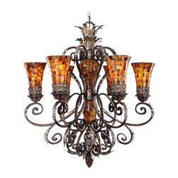 Frontgate - Salamanca Six- Light Chandelier - Provides ample illumination while making a brilliant focal point. Features pen shell glass. Requires 60-watt medium base bulbs (not included). 120V. UL listed. A golden glow, graceful curves, and gorgeous accents make the Salamanca Lighting Collection an exquisite decorating choice. Sweeping scrolls in a Cattera Bronze finish and burnished silver highlights tastefully accent the lustrous pen shell mosaic shades. The combination of colors and classical styling make for a masterful set.  .  .  .  .  . One year limited manufacturer's warranty . Some assembly required . Imported.