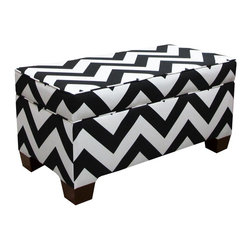 "Skyline - ""Skyline Furniture Storage Bench, Zig Zag Black/White"" - ""Get ready to add a pop of color to your room. Upholstered in fun, playful fabric, this bench not only looks good, but it can also store all your belongings. Perfect for a child's room. Made in the USA.Assembled Dimensions: 36W x 18D x 18H"""