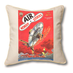 "Museum of Robots - Pillow Cover: Air Wonder Stories April 1930, Cream Piping Trim - Brighten up the place with one of our pillow covers. This cover art from the February 1934 issue of Air Wonder Stories features ""Flying Buzz-Saw"" art of Frank R. Paul, father of sci-fi illustration. Enjoy a slice of classic sci-fi."