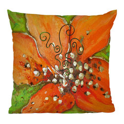 DENY Designs - DENY Designs Gina Rivas Design Hibiscus Floral Throw Pillow - Tropical Hibiscus. Give your home some pop with the Gina Rivas Design Hibiscus Floral Throw Pillow from DENY Designs. Made from woven polyester, this throw pillow is hip and bold. It features an oversized hibiscus flower design in bright orange and spring green. Toss it onto your bed for a splash of color, or let it bring some hip, South Beach flair to any space.Artist: Gina Rivas DesignA portion of proceeds go directly to the artistsConcealed zipper with bun insertMade in the USA