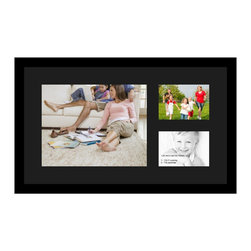 ArtToFrames - ArtToFrames Collage Photo Frame  with 1 - 11x14 and 2 - 5x7 Openings - This sleek Satin Black, 1.25 inch wide collage frame, presents a multiple opening display for 1 - 11x14 and 2 - 5x7 prints of your choice. This collage is part of an extensive collage frame compilation and boasts an ample line of carefully constructed frames at a affordable price tag you can smile about! Handcrafted and developed to suit your prints making sure you 1 - 11x14 and 2 - 5x7 art will fit just right. Bordered in a striking Satin Black, sleek frame and surrounded by a clean Black mat, the collage arrangement absolutely shows off your very own prized artwork, and the greatest memories in an entirely unique and memorable way. This collage frame comes protected in Styrene, available with proper hardware and can be hung up within a few seconds. These superior quality and naturally wood-based collage frames differ in design and size; all in contemporary and modern design. Mats are available in a assemblage of color tones, spaces, and shapes. It's time to tell your story! Preserving your saving your memories in an original and artistic contemporary way has never been easier.