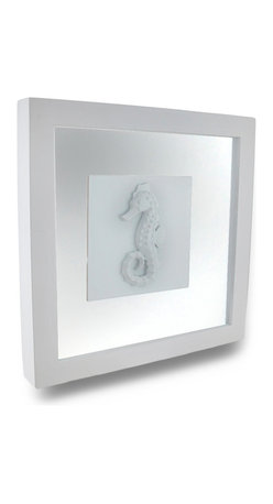 Zeckos - White Seahorse Shadow Box Wall Hanging - This white sea horse shadow box wall plaque is a wonderful addition to nautical, coastal or beach themed homes of both water lovers and sea animal admirers alike It's crafted from a wood frame with clear glass covers and a white cast resin seahorse in between. It's a beautiful highlight for the bedroom, bath or any room in your home you want an amazing accent on the wall The attached saw tooth hanger on the back of this 9 inch long, 9 inch wide, 1.25 inch deep (23 X 23 X 3 cm) shadow box makes mounting easy This decorative seahorse shadow box wall hanging makes a wonderful gift worthy of attention