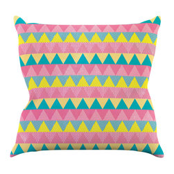 """Kess InHouse - Louise Machado """"Triangles"""" Yellow Pink Throw Pillow (16"""" x 16"""") - Rest among the art you love. Transform your hang out room into a hip gallery, that's also comfortable. With this pillow you can create an environment that reflects your unique style. It's amazing what a throw pillow can do to complete a room. (Kess InHouse is not responsible for pillow fighting that may occur as the result of creative stimulation)."""