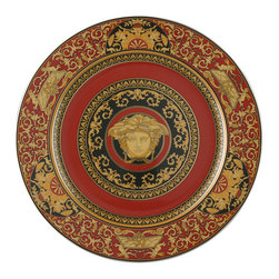Versace - Versace Medusa Red Service Plate - Versace Medusa Red Service Plate    ***   Since the late 1970s the Versace brand has been synonymous with Italian luxury. For over 30 years their products have been known for uncompromising design as well as their sensual style and peerless craftsmanship. Many of our Versace Italian dinnerware sets are adorned with the famous medusa logo and offer a touch of Italian fashion and luxury to any meal. Shop our selection today to find a new porcelain dinner service that's sure to impress even the most persnickety guest.