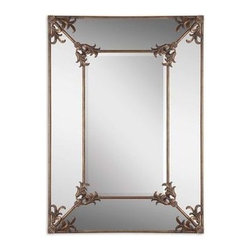 "Uttermost - Uttermost 12806 Ansonia Antique Mirror In Antique Gold - Frame features an antiqued gold finish with a light gray wash. Mirror has a generous 1 1/4"" bevel. May be hung horizontal or vertical."