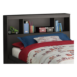 South Shore - South Shore Affinato Twin Bookcase Headboard in Solid Black Finish - South Shore - Headboards - 3270098 - With its solid black finish and sleek, simple lines, the South Shore Affinato Bookcase Headboard will enhance any kids bedroom. Available in Twin size, this headboard features three open shelves and a wire management hole in the back. Add contemporary charm to your kid's bedroom with the Affinato Bookcase Headboard.