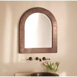 KCK Bathroom Mirrors & Accessories - Sedona Arch Mirror - Who is the fairest of all? Sedona Arch, of course! Subdued and alluring, Sedonas unique shape provides a perfect landscape for the hand hammered detail and Antique copper patina. Bathroom mirror for sale at Kitchen Cabinet Kings.