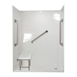 """Ella's Bubbles - Ella Standard Plus 24 Barrier Free, 60""""W x 33.375""""D x 77.75""""H, Right Drain - The Ella Standard Plus 24, (5-Piece) 60 in. x 33 in. Roll in Shower is manufactured using premium marine grade gel coat fiberglass which creates a smooth, beautiful, long lasting surface with anti-slip textured shower base floor. Ella Standard Plud 24 Barrier Free Shower walls are reinforced with wood and steel providing flexibility for seat and grab bar installation at needed height for any size bather. The integral self-locking aluminum Pin and Slot System allows the shower walls and the pre-leveled shower base to be conveniently installed from the front. Premium quality material, no need for drywall or extra studs for fixture support, 30 Year Limited Lifetime Warranty (on shower panels) and ease of installation make Ella Barrier Free Showers the best option in the industry for your bathtub replacement or modification needs. The Ella Standard Plus 24 Barrier Free, Roll In Shower comes with three (3) 24 inch satin finish straight stainless steel grab bars (not installed to allow for custom positioning), a four legged fold-up seat, a textured slip resistant Grip Sure™ floor, a collapsible white rubber dam which allows for easy wheelchair roll over into the shower stall and keeps water inside the shower."""