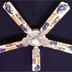 Ceiling Fan Designers - Ceiling Fan Designers Hot Wheels Indoor Ceiling Fan - 42FAN-KIDS-HW - Shop for Ceiling Fans and Components from Hayneedle.com! Whether he's 2 or 20 your kid will love the Ceiling Fan Designers Hot Wheels Indoor Ceiling Fan. With its Hot Wheels logo and fun fast cars this ceiling fan and light kit combo will light up and cool down the room in style. It comes in your choice of size: 42-inch with 4 blades or 52-inch with 5. The blades are reversible so you can change the look from Hot Wheels to all white whenever you choose. It's designed for indoor use and has a powerful yet quiet 120-volt 3-speed motor with easy switch for year-round comfort. The 42-inch fan includes a schoolhouse-style white glass shade and requires one 60-watt candelabra bulb (not included). The 52-inch fan has three alabaster glass shades and requires three 60-watt candelabra bulbs (included). Your ceiling fan includes a 15- to 30-year manufacturer's warranty (based on size). It is not an officially licensed product. Licensed products were used as decorations. Hot Wheels mania!