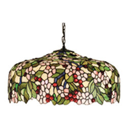 """Meyda Tiffany - 20""""W Tiffany Cherrry Blossom Pendant - Cardinal Red jewel cherries glisten between Rosy Pink flowers and Verdant Green leaves in our version of the Tiffany Studio's cherry blossom. The cascading blooms and fruit form the undulating edge of this colorful and intricately patterned stained glass shade. This lovely pendant is suspended from a Mahogany Bronze hand finished canopy and chain."""
