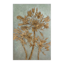 Uttermost - Golden Leaves Wall Art - Hang this oil painting in your bedroom for a whimsical and calming effect. Gold flowers give your room a touch of glamour, while the subdued background keeps the look sophisticated. It's a beautiful piece to add to your growing art collection.