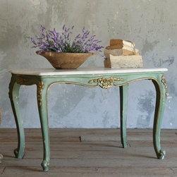 Sweet Vintage Coffee Table in Distressed Deep Mint - Sweet vintage coffee table in a distressed deep mint finish with gilt highlights. Classic Louis XV cabriole legs and white carerra marble top. So cute!