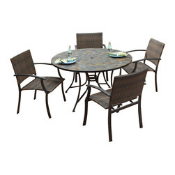 HomeStyles - 5-Pc Outdoor Dining Table Set - Includes dining table and four arm chairs. Large round table. Small, square, hand applied slate tiles table top. Center opening. Can be used for an umbrella or can closed with black cap. Adjustable and nylon glides. Prevent damage to surfaces caused by movement. Provide stability on uneven surface. Two-tone chair. Walnut brown synthetic-weave seat. Synthetic-weave both moisture and weather resistant. Low maintenance. Made from slate and powder coated steel. Slate and black color. Chair: 24.5 in. W x 24.25 in. D x 36 in. H. Seat height: 18 in.. Arm height: 26.25 in. Table: 51.25 in. Dia. x 29.5 in. H. Table Assembly Instructions. Chair Assembly InstructionsNo two tops being exactly the same in a naturally occurring gray variation. All Homes Styles outdoor, casual dining chairs are sold two per pack and are designed to stack for easy storage.