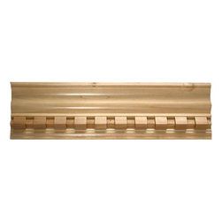 "Inviting Home - Cotuit dentil crown molding - Dentil wood crown molding 3-3/8""H x 4-3/8""P x 5-1/4""F x 8'00""L sold in 8 foot length (3 piece minimum required) Outstanding quality embossed crown molding profile milled from high grade kiln dried solid poplar hardwood. Decorative ornamental design crafted embossed under intense heat and pressure. Wood molding is sold unfinished and can be easily stained painted or glazed. The installation of the wood molding should be treated the same manner as you would treat any wood molding: all molding should be kept in a clean and dry environment away from excessive moisture. Acclimate wooden moldings for 5-7 days. When installing wood moldings it is recommended to nail molding securely to studs and glue all mitered corners for maximum support."