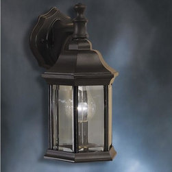 Kichler Lighting - Kichler Lighting - 9776BK - Chesapeake - One Light Outdoor Wall Mount - Traditional-styled beauty in die-cast aluminum with candlestick lights and beveled glass in a powder-coated Black finish.