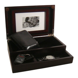 Proman Products - Proman Products Royal Dresser Valet in Walnut - Royal dresser valet, it's simple yet elegant with black lining interior and trays. It also comes with picture holder to store your memorable moment. Dark mahogany finish