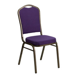 Flash Furniture - Flash Furniture Hercules Crown Back Stacking Banquet Chair in Purple - Flash Furniture - Stacking Chairs - FDC01PURGVGG - This is one tough chair that will withstand the rigors of time. With a frame that will hold in excess of 500 lbs. The Hercules Series Banquet Chair is one of the strongest banquet chairs on the market. You can make use of banquet chairs for many kinds of occasions. This banquet chair can be used in Church Banquet Halls Wedding Ceremonies Training Rooms Conference Meetings Hotels Conventions Schools and any other gathering for practical seating arrangements. The banquet chair is also great for home usage from small to large gatherings. For any environment that you use a banquet chair it will put your guests at a greater comfort level with the padded seat and back. Another advantage is the stacking capability that allows you to move the chairs out of the way when not in use. With offerings of comfort and durability you can be assured that you can enjoy this elegant stacking banquet chair for years to come.