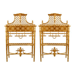 19th Century Rare French Latticed Gilt Wood Chinoiserie Plant Holders, Set of 2 - I didn't immediately know what these were, but their lattice patterns sort of gave them away. They are planters! A pair of these in a plain room brings instant architecture and history.